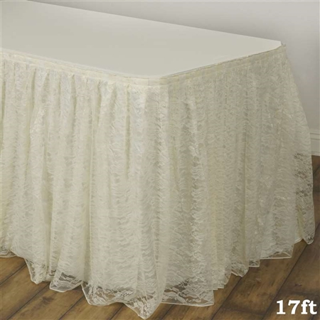17ft Ivory Polyester Lace Table Skirts Wedding Table
