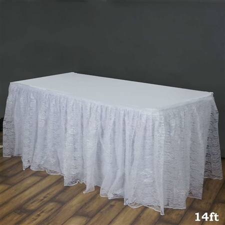 White Polyester Wedding Table Skirt Wholesale Table
