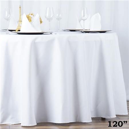 120 Quot White Polyester Round Tablecloth Bulk Tablecloth